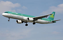 An Aer Lingus Airbus A321 landing at London Heathrow Airport in 2007, via Wikipedia