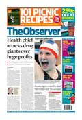 Observer Front Page, Sunday 17 JUly 2008