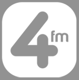 Greyscale of logo of radio station, 4FM, via their website