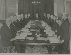 Simon Coleman's painting of the first meeting of the Council of State on 8 January 1940
