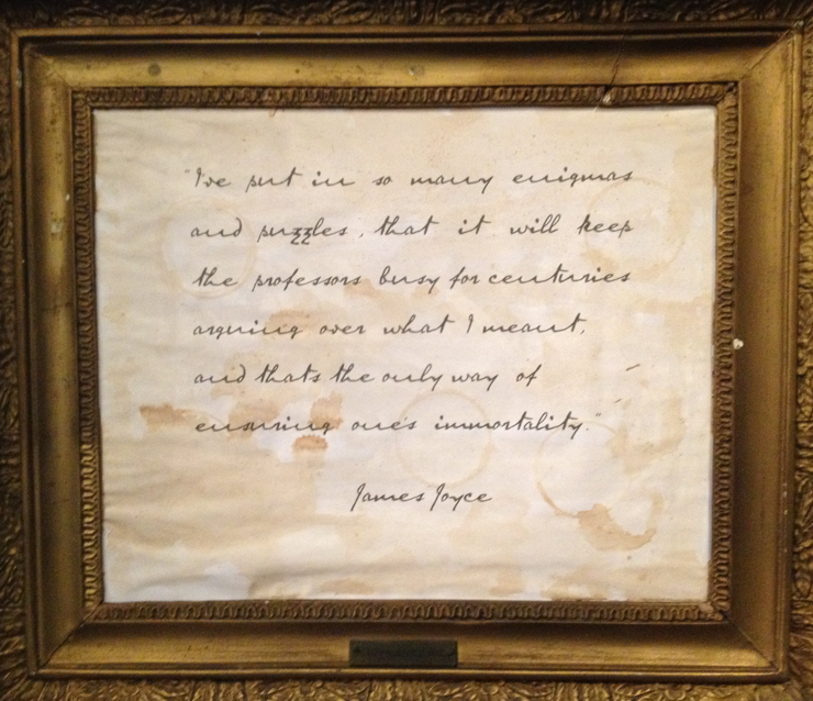 Note by James Joyce at National Wax Museum