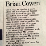 I will always know what you did last Summer, Mr Cowen