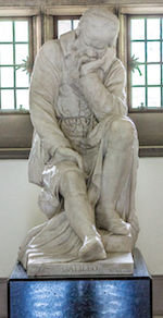 Statue of Galileo inside the Lanyon Building, QUB; detail of image by William Murphy on Flickr