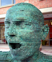 Eco (detail, scuplture) outside the New Library at QUB