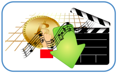 BitCoin and Music Staff (both via pixabay) and Movie Download (by evolutionxbox on deviantart)