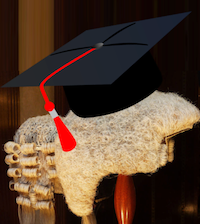 Academic Mortar Board via https://pixabay.com/en/graduation-cap-hat-achievement-309661/ and Judicial Wig via https://en.wikipedia.org/wiki/Court_dress#/media/File:Legal_wigs_today.jpg