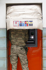 Soldier at ATM
