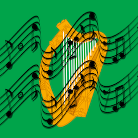 Harp via wikipedia and music notes via pixabay