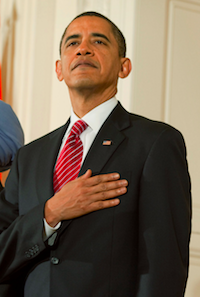 Obama Hand on Heart for Anthem