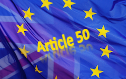 Article 50 plus EU UK flags Brexit mashup, based on pixabay image