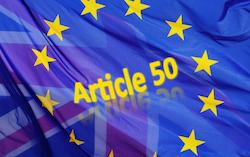 Article 50 plus EU UK flags Brexit mashup, based on pixabay image