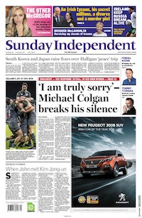 Sunday Independent front page 12 Nov