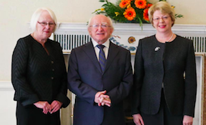 Laffoy and Dunne, with President Higgins, via President.ie