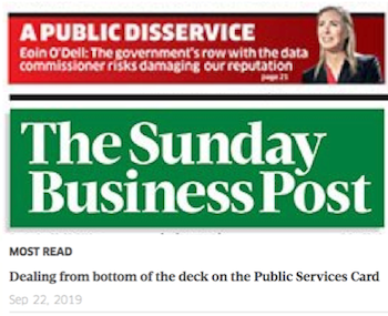 Sunday Business Post, 22 Sept 2019