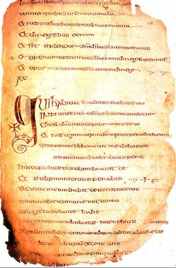 Cathach of St Colmba, at RIA; via widipedia
